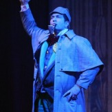"""The game's afoot!"" Robin Downward as Sherlock Holmes at the Oregon Cabaret Theatre, 2010"